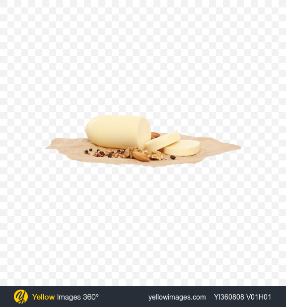 Download Sliced Mozzarella Cheese with Nuts and Spices on Craft Paper Transparent PNG on YELLOW Images