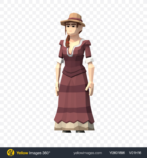 Download Low Poly Western Lady Transparent PNG on YELLOW Images