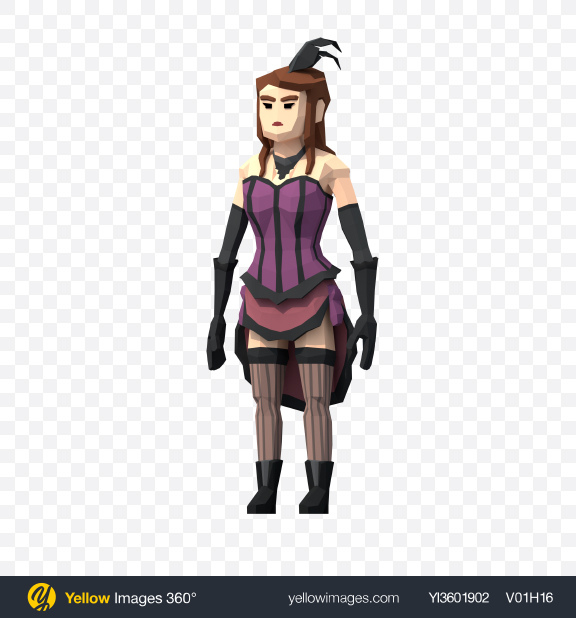 Download Low Poly Saloon Girl Transparent PNG on YELLOW Images
