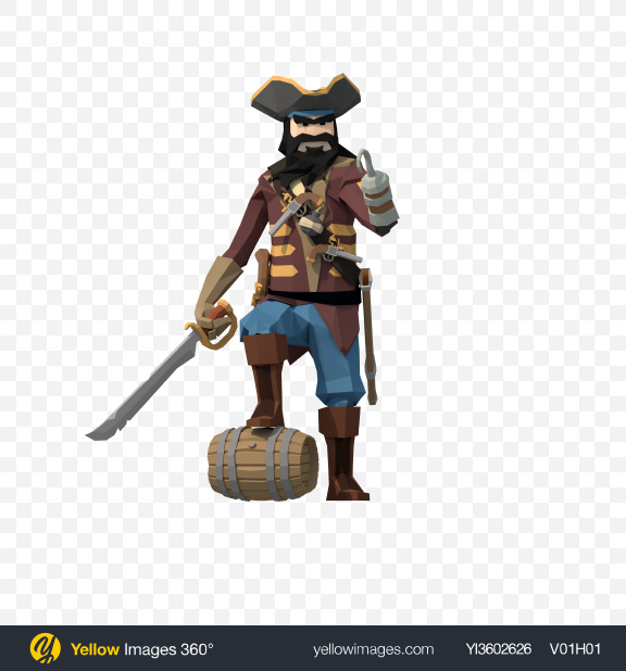 Download Low Poly Blackbeard Pirate Transparent PNG on YELLOW Images
