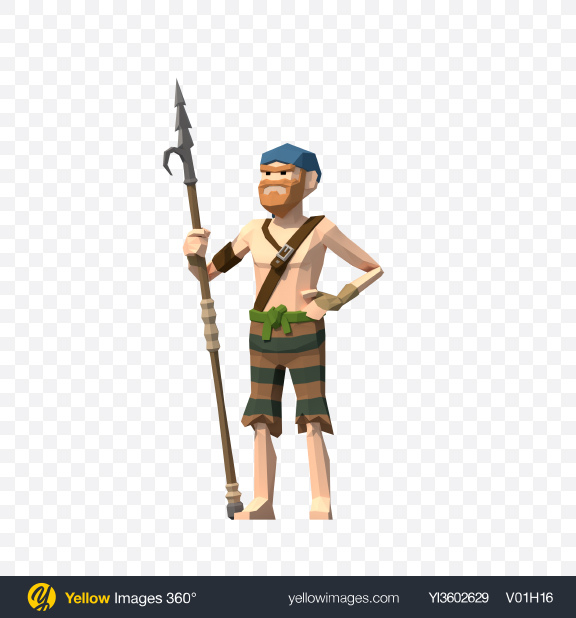 Download Low Poly Pirate with Spear Transparent PNG on YELLOW Images
