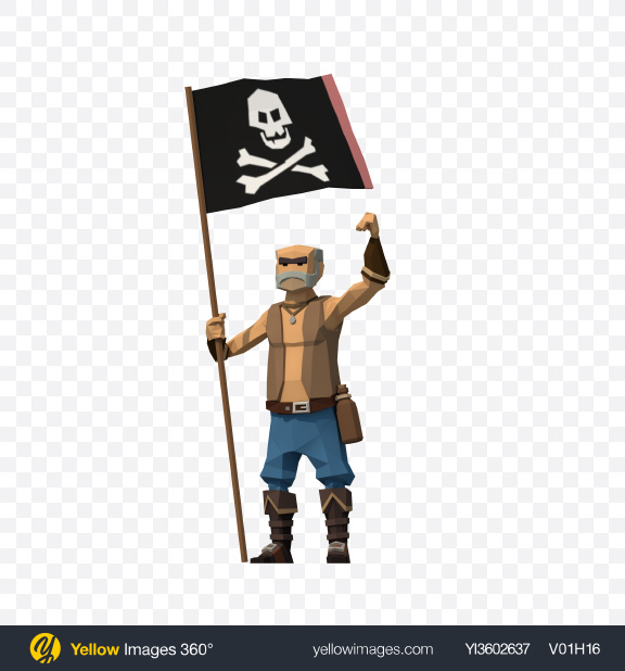 Download Low Poly Pirate with Flag Transparent PNG on YELLOW Images