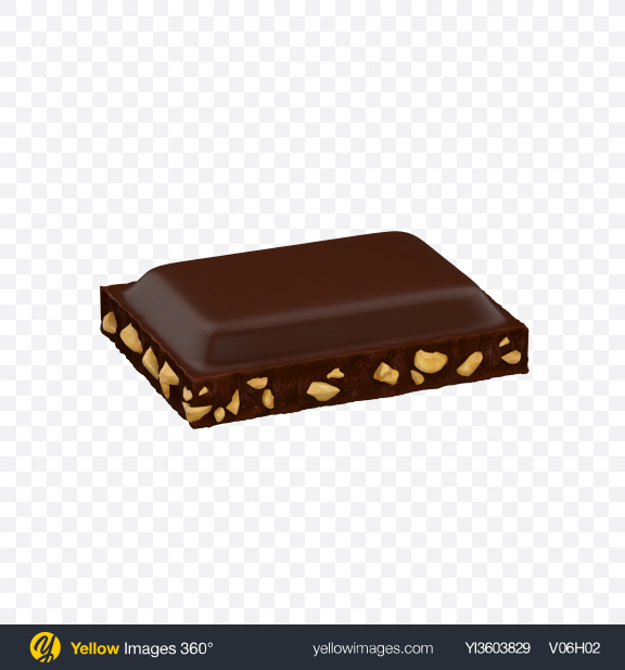 Download Dark Chocolate Piece with Nuts Transparent PNG on YELLOW Images
