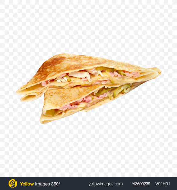 Download Pancakes w/ Ham, Chicken & Pickles Transparent PNG on YELLOW Images