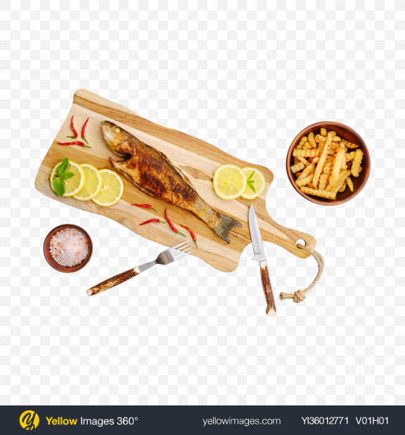 Download Roasted Seabass on Cutting Board w/ French Fries Transparent PNG on YELLOW Images