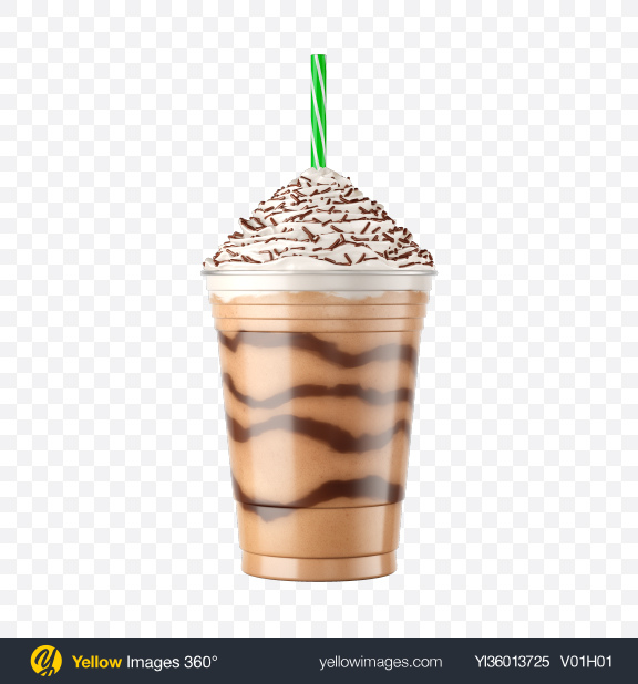 Download Plastic Coffee Cup w/ Whipped Cream & Sprinkles Transparent PNG on YELLOW Images