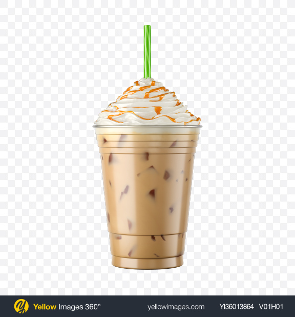 Download Plastic Iced Coffee Cup w/ Whipped Cream & Caramel Transparent PNG on YELLOW Images