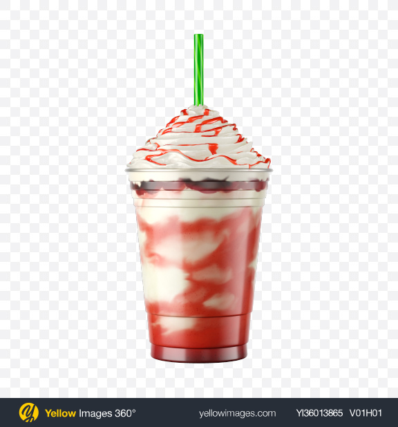 Download Plastic Coffee Cup / Whipped Cream & Strawberry Syrup Transparent PNG on YELLOW Images