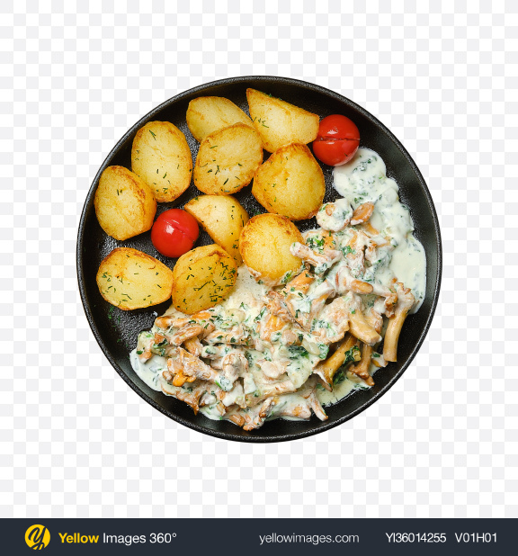 Download Country Potatoes w/ Chanterelles, Bacon & Sour Cream Transparent PNG on YELLOW Images