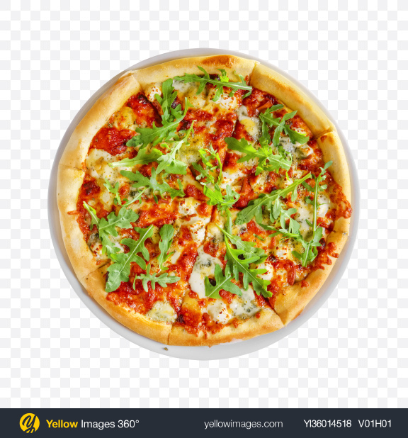 Download Pizza Margarita w/ Arugula Transparent PNG on YELLOW Images