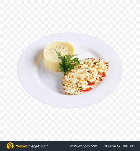 Download Baked Meat w/ Mashed Potatoes Transparent PNG on YELLOW Images