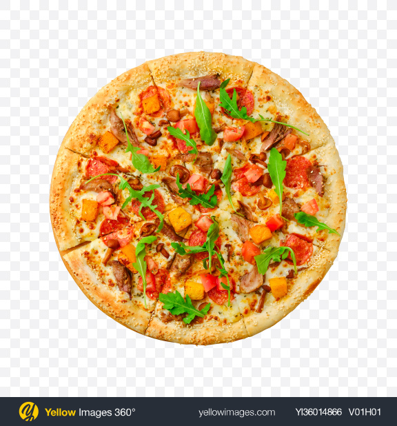 Download Pizza w/ Meat, Sausage Slices, Vegetables & Arugula Leaves Transparent PNG on YELLOW Images