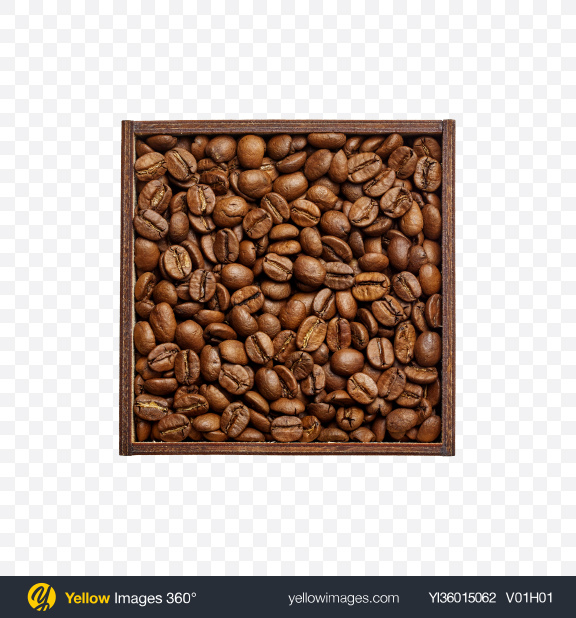 Download Coffee Grains in Square Wooden Bowl Transparent PNG on YELLOW Images
