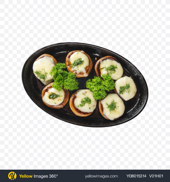 Download Stuffed Champignon Hats in a Pan Transparent PNG on YELLOW Images