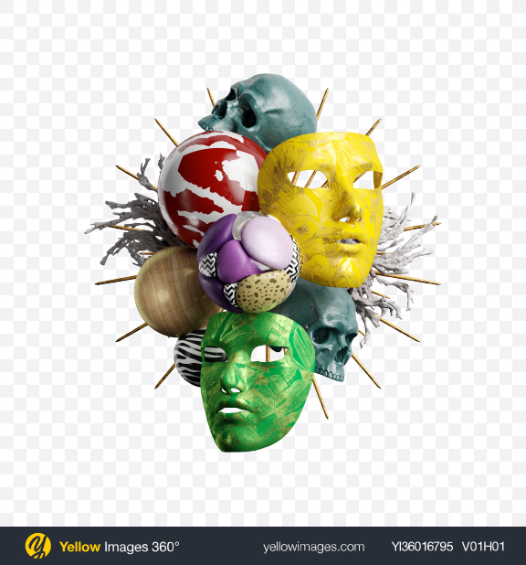 Download Abstract Set w/ Masks Transparent PNG on YELLOW Images