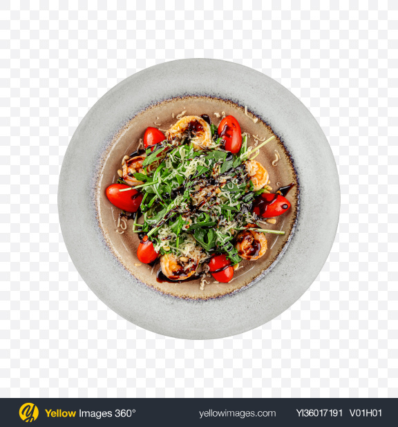 Download Shrimp Salad w/ Arugula & Tomato Transparent PNG on YELLOW Images