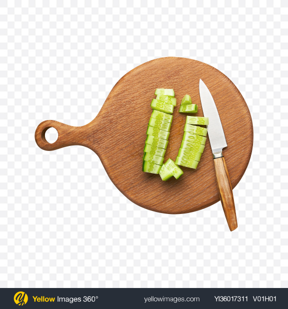 Download Chopped Cucumber w/ Knife on Wooden Board Transparent PNG on YELLOW Images