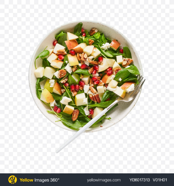 Download Salad w/ Apple, Pomegranate Seeds & Cheese Transparent PNG on YELLOW Images
