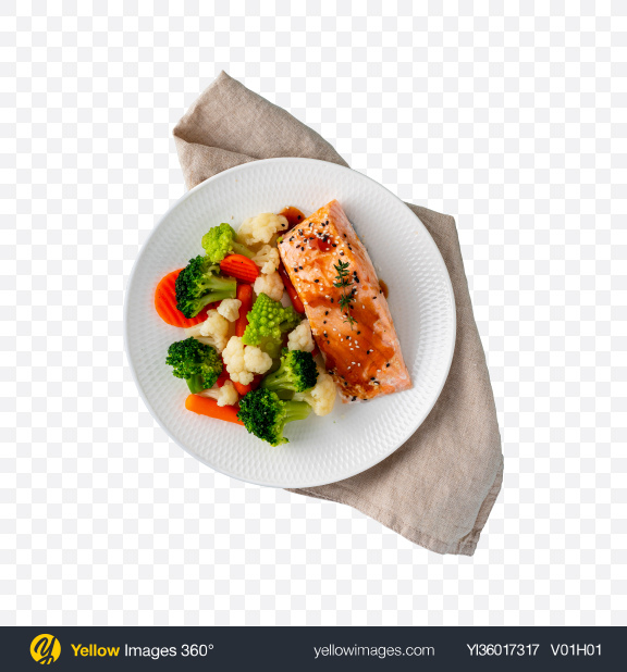 Download Steamed Salmon w/ Vegetables Transparent PNG on YELLOW Images