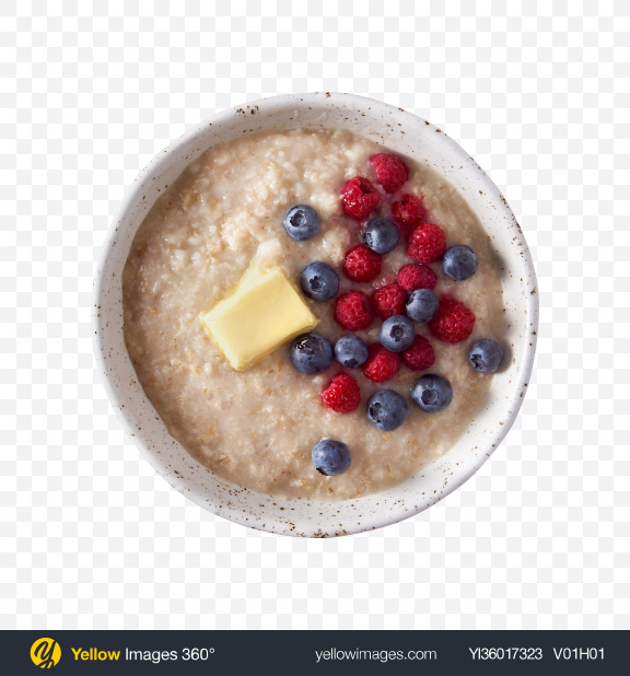 Download Porridge w/ Berries & Butter Transparent PNG on YELLOW Images