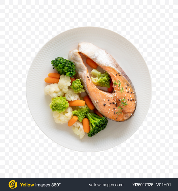 Download Steamed Salmon Slice w/ Vegetables Transparent PNG on YELLOW Images