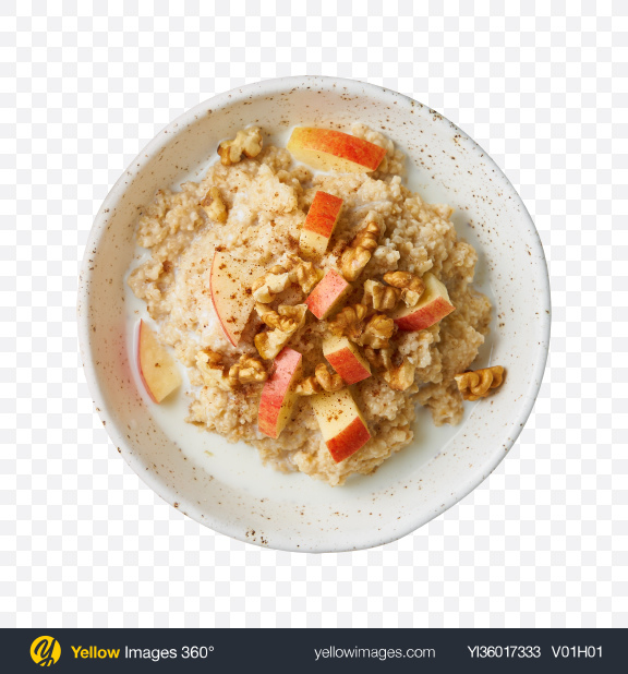 Download Porridge w/ Apple, Nuts & Cinnamon Transparent PNG on YELLOW Images