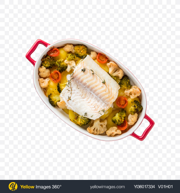 Download Fish Fillet w/ Baked Vegetables Transparent PNG on YELLOW Images