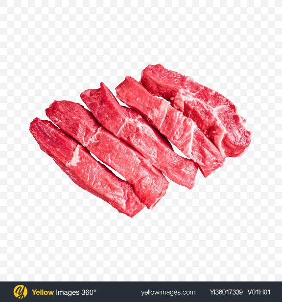 Download Raw Red Meat Slices Transparent PNG on YELLOW Images