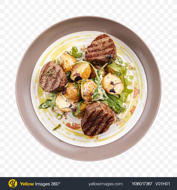 Download Fillet Mignon Steak w/ Potatoes Transparent PNG on YELLOW Images