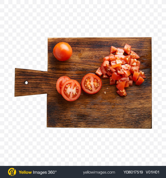 Download Chopped Tomatoes on Wooden Board Transparent PNG on YELLOW Images