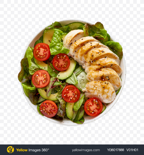 Download Green Salad w/ Chicken Fillet Slices Transparent PNG on YELLOW Images