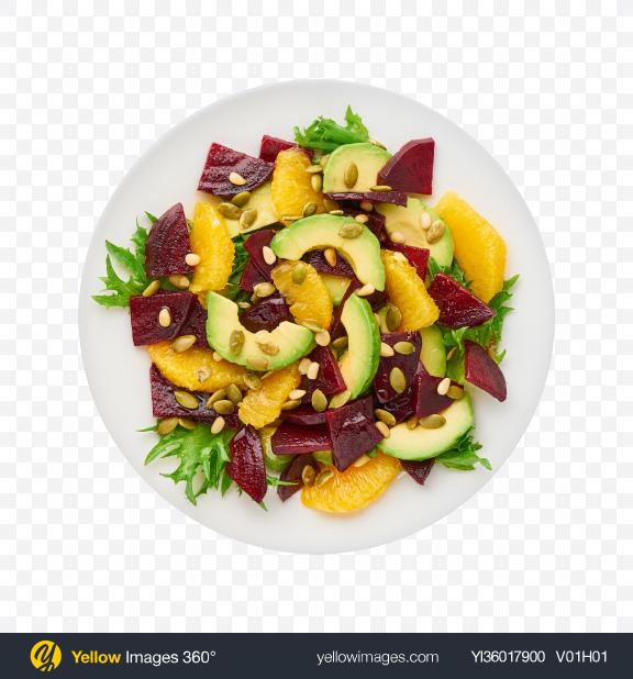 Download Salad w/ Beetroot, Orange & Avocado Transparent PNG on YELLOW Images