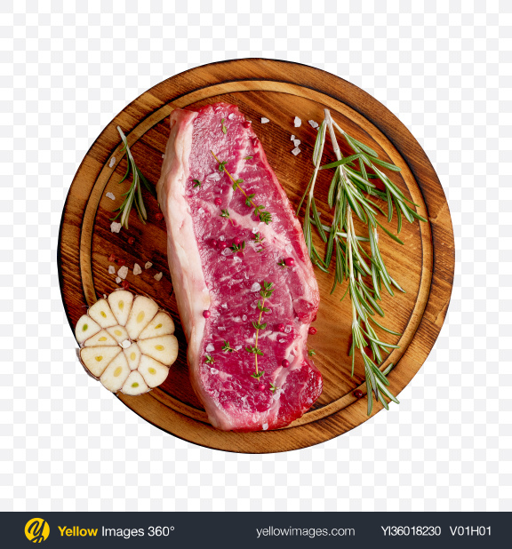 Download Raw Meat Piece on Wooden Board Transparent PNG on YELLOW Images
