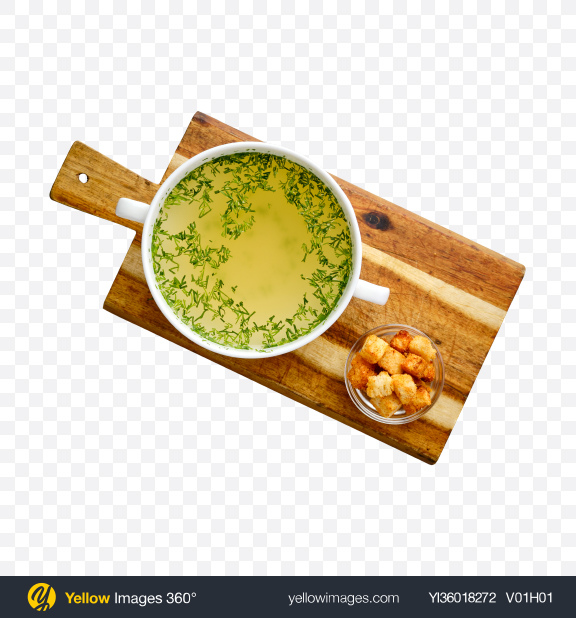 Download Chicken Stock w/ Croutons Transparent PNG on YELLOW Images
