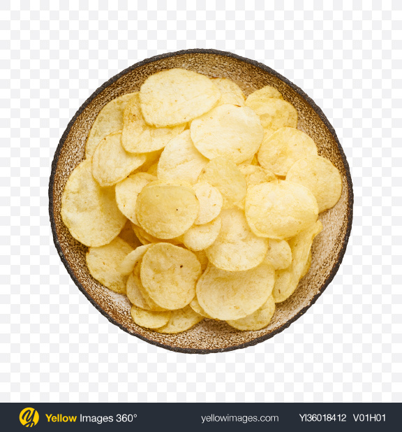 Download Potato Chips in Ceramic Bowl Transparent PNG on YELLOW Images