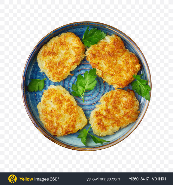 Download Potato Pancakes w/ Greens Transparent PNG on YELLOW Images