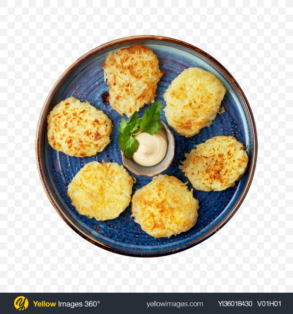 Download Potato Pancakes w/ Sour Cream Transparent PNG on YELLOW Images