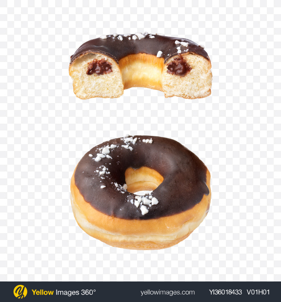 Download Chocolate Donut w/ Half Transparent PNG on YELLOW Images