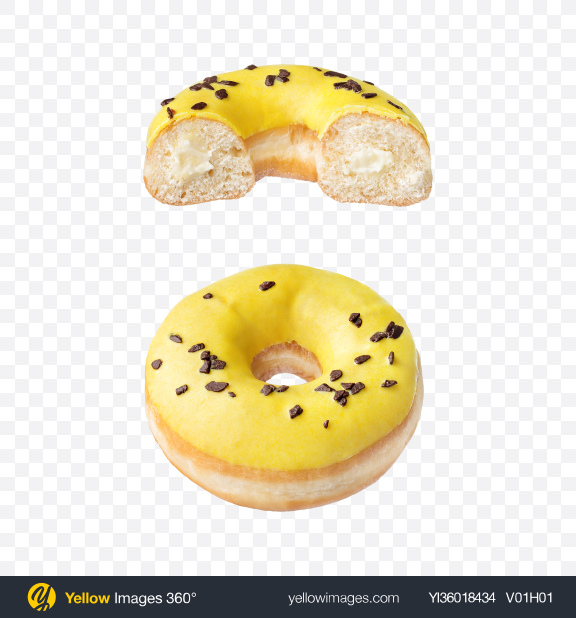 Download Vanilla Donut w/ Half Transparent PNG on YELLOW Images