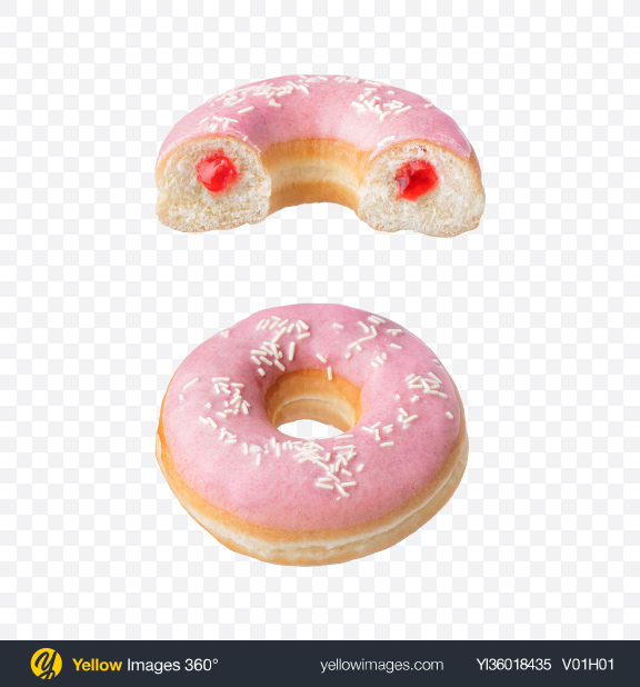 Download Strawberry Donut w/ Half Transparent PNG on YELLOW Images