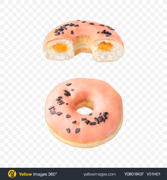Download Peach Donut w/ Half Transparent PNG on YELLOW Images