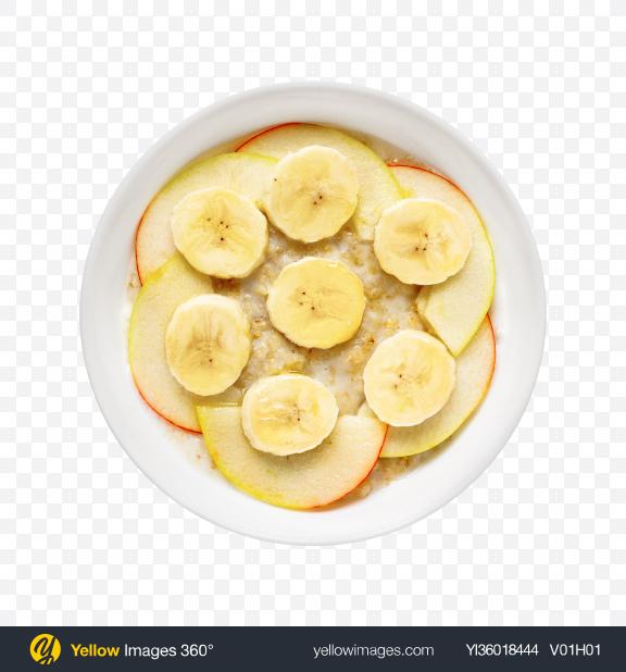 Download Porridge w/ Apple & Banana Slices Transparent PNG on YELLOW Images