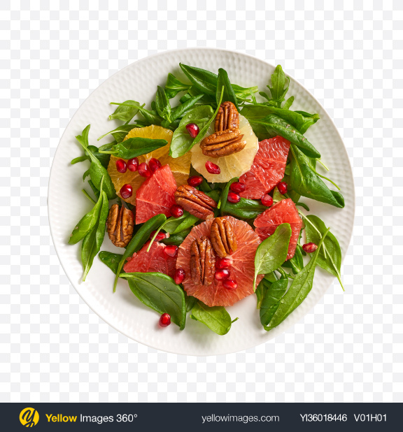 Download Salad w/ Grapefruit, Nuts & Greens Transparent PNG on YELLOW Images