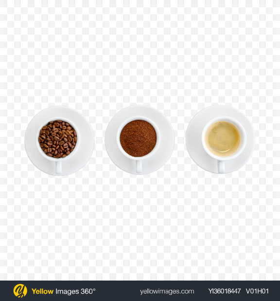 Download Cups w/ Beans, Ground & Liquid Coffee Transparent PNG on YELLOW Images