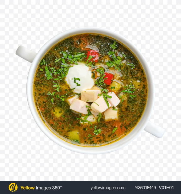 Download Vegetable Soup w/ Chicken Fillet Transparent PNG on YELLOW Images