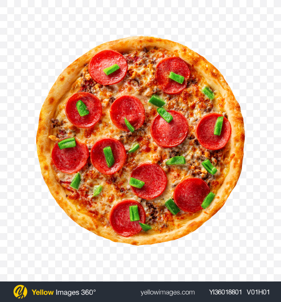 Download Meat Pizza with Salami and Mince Transparent PNG on YELLOW Images