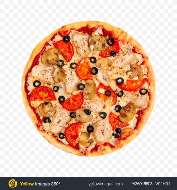 Download Chicken Pizza with Mushrooms Transparent PNG on YELLOW Images