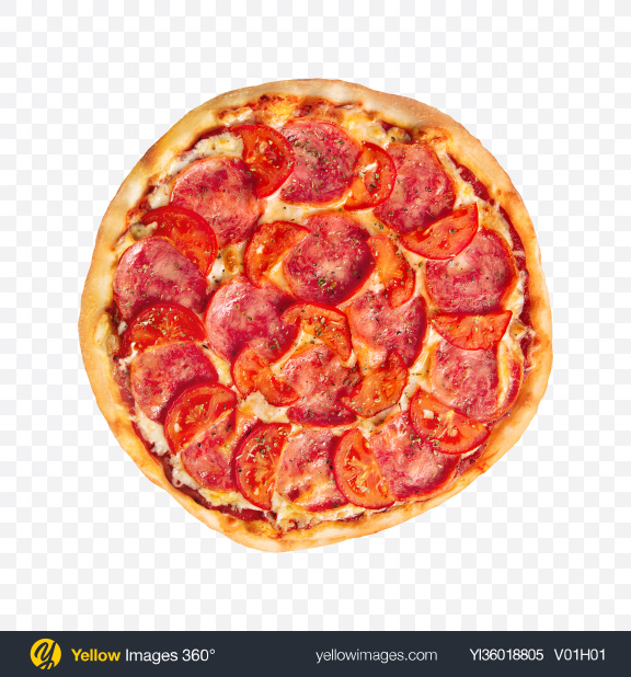 Download Pizza with Ham and Tomatoes Transparent PNG on YELLOW Images