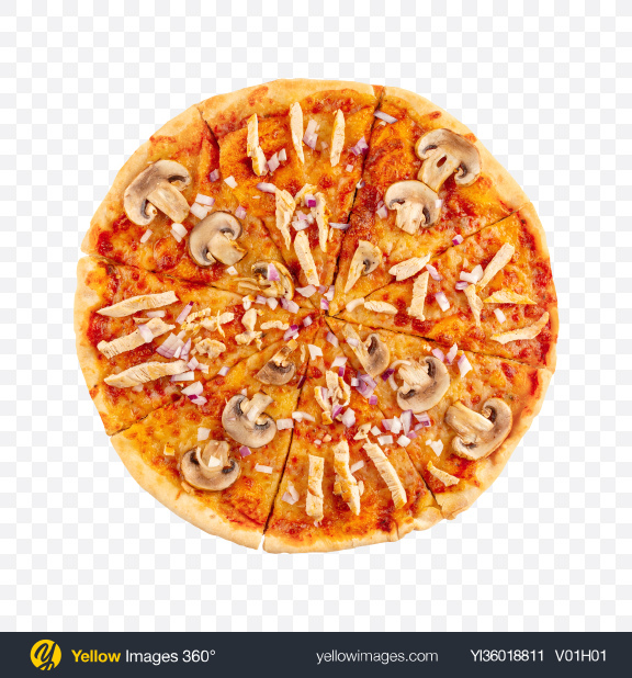 Download Mushroom Pizza with Chicken Transparent PNG on YELLOW Images