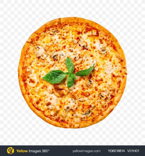Download Pizza with Mushrooms and Cheese Transparent PNG on YELLOW Images